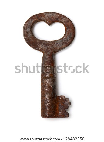 single old key isolated on white background - stock photo