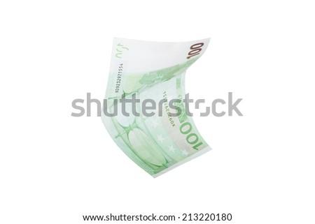Single one hundred euro money banknote, isolated on white background. - stock photo