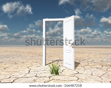 Single open door in cracked desert with clump of grass - stock photo
