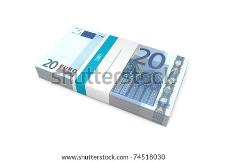 single packet of 20 Euro notes with bank wrapper - 5.000 Euros