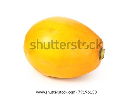 Single Papaya fruit isolated on a white background. - stock photo