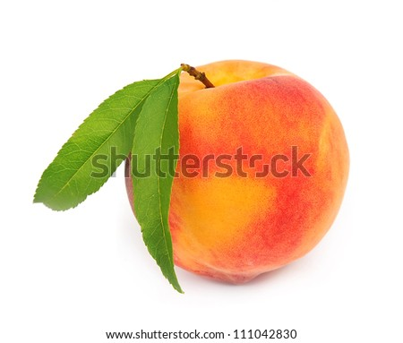 Single  peach with leaves on a white background