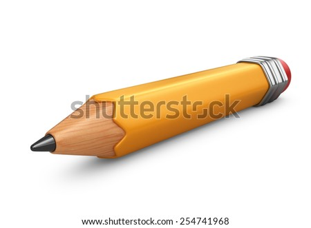 Single pencil. 3D icon isolated on white background - stock photo