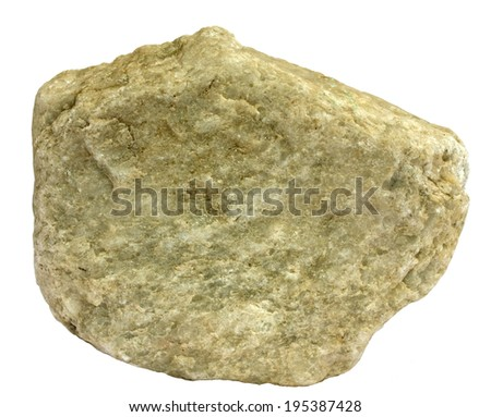Single piece of greenish tinted metamorphic quartzite - stock photo