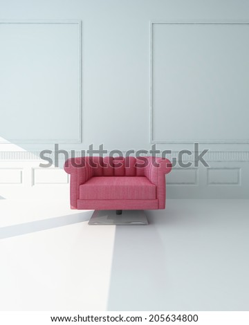Single pink armchair in a white paneled room with stark white floor standing at the edge of a patch of sunlight centered in the frame - stock photo