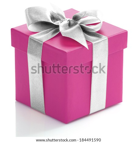 Single pink gift box with silver ribbon on white background.  - stock photo