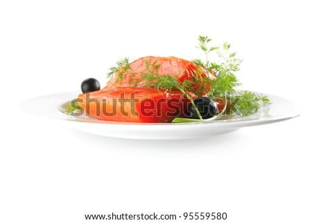 single pink salmon bit on a big white dish - stock photo