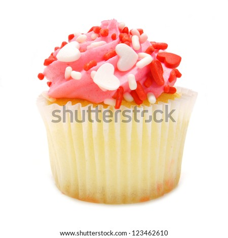 Single pink Valentines Day cupcake with heart-shaped sprinkles over white - stock photo