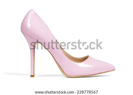 Single pink women's heel shoe isolated over white with clipping path.