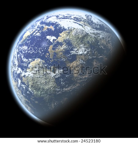 Single planet with deep atmosphere isolated on black