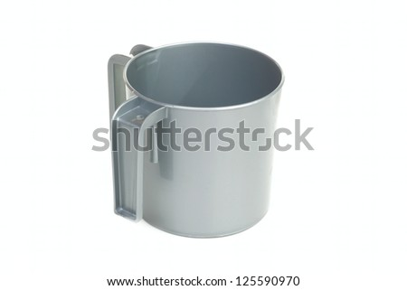 Single plastic gray mug with two handles isolated on white background