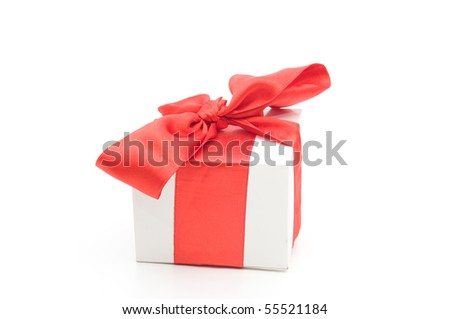 single present box with red - stock photo