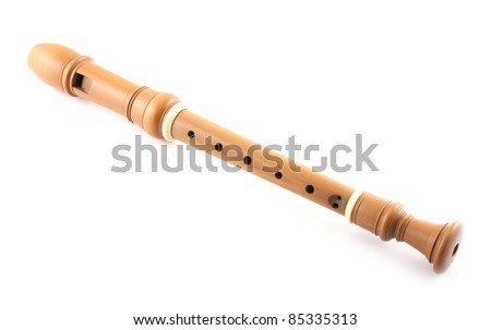 Single recorder on a white background.