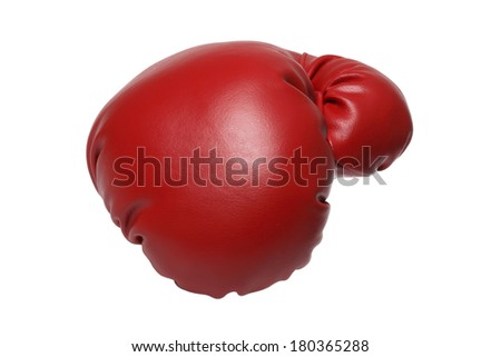 Single red boxing glove on white background - stock photo