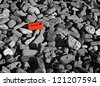 Single red brick amongst lots of monochrome bricks - stock photo