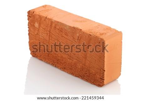 single red brick isolated on white background isolate - stock photo