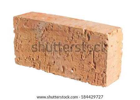 Single red brick with granite grains isolated on white background