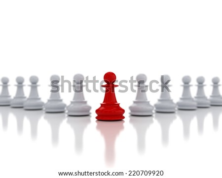 Single red chess pawn in front