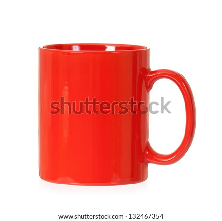 Single red cup, isolated on white background - stock photo