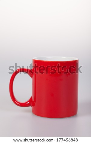Single red cup, isolated on white background