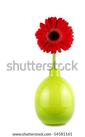 Single red daisy flower in green glass vase - stock photo