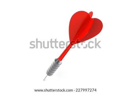 Single Red Dart isolated on white background - stock photo