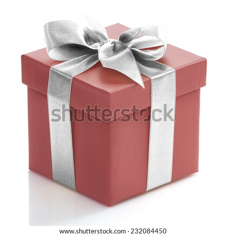 Single red gift box with sliver ribbon on white background.  - stock photo