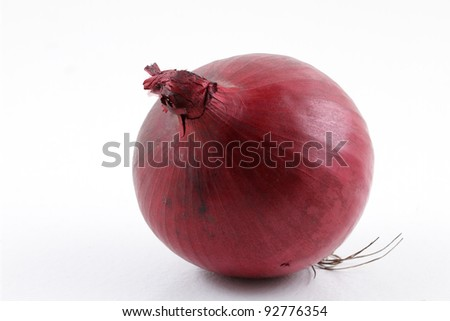 Single red onion on white - stock photo