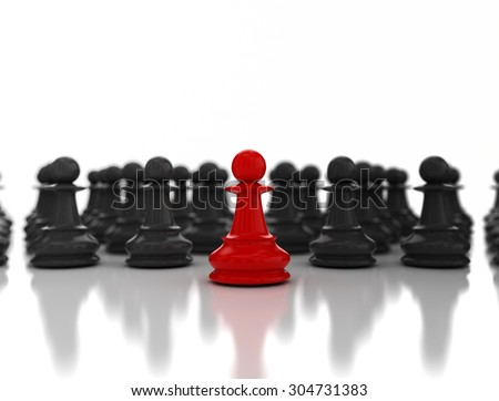 Single red pawn. Standing out from the crowd. Business strategy concept background