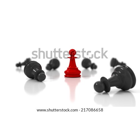 Single red pawn surrounded by a number of fallen black chess pieces  - stock photo