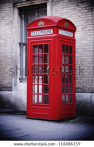 Single red phone box, London