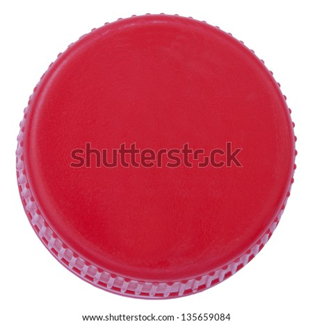 Single red plastic bottle cap isolated on white background. Top side. - stock photo