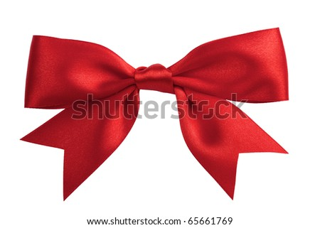 single red ribbon gift bow isolated on white