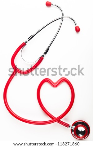 Single red stethoscope heart shaped  isolated on white background
