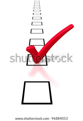 Single Red Tick in a Long Row of Check Boxes - stock photo