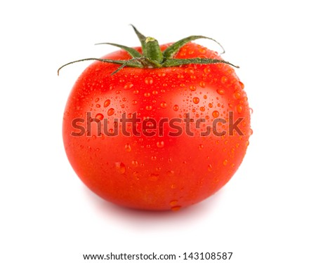 Single red tomato with water drops isolated on white backgroung