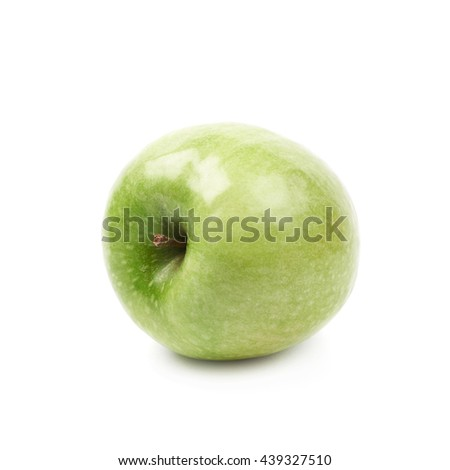 Single ripe and green granny Smith apple isolated over the white background - stock photo