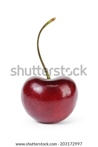 single ripe cherry berry, isolated on white background