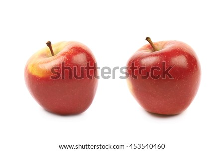 Single ripe red and golden jonagold apple isolated over the white background, set of two different foreshortenings - stock photo