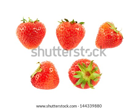Single ripe red strawberries isolated over white background, set of five