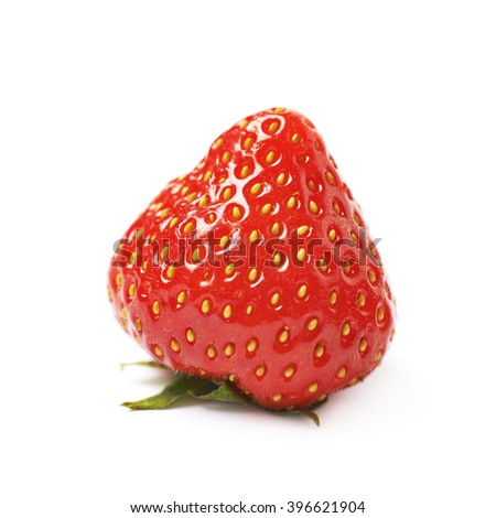 Single ripe red strawberry isolated - stock photo