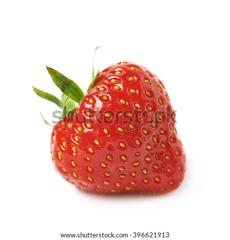 Single ripe red strawberry isolated