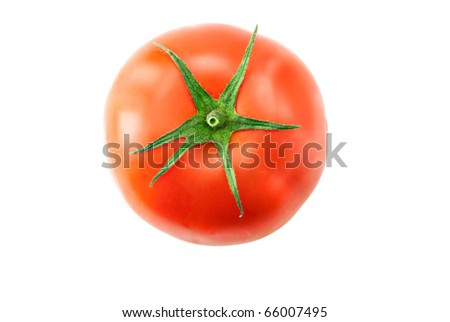 Single ripe tomato isolated on white background - stock photo