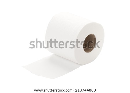 single rolled toilet paper isolated on white background with path