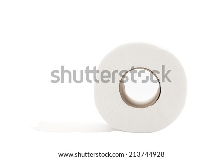 single rolled toilet paper isolated on white background with path - stock photo