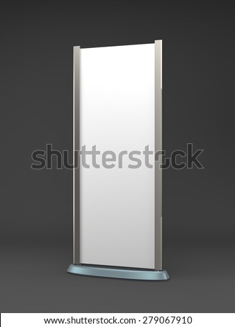 single rollup or banner on dark background - stock photo