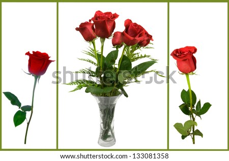 single roses and bouquet of roses in a vase on a white background - stock photo