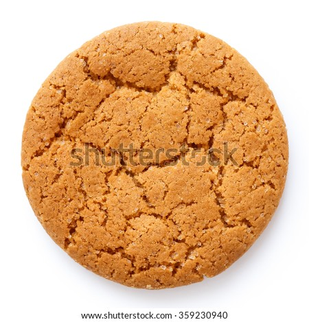 Single round ginger biscuit isolated on white from above.
