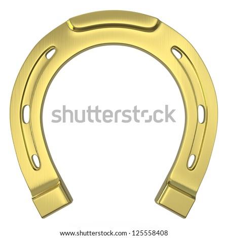 Single scratched golden horseshoe isolated on white background - stock photo