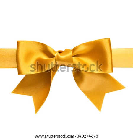 single shiny gift bow, golden satin, with one ribbon isolated on white